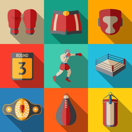 Iconos planos set - boxeo - guantes y pantalones cortos, casco, tarjeta de ronda, boxeador, anillo, cinturón, ponche bolsas. Ilustración vectorial