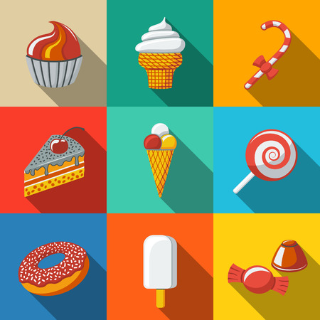 pretzel stick: Modern flat sweet icons set with - cupcake, donut, cake, ice creams, christmas candy, lollipop, candies. Vector illustration Illustration