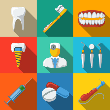 drill: Dental flat long shadow icons set with - tooth and jaw, toothbrush, dentist tools, doctor, prosthesis, drill, pills, syringe. vector Illustration