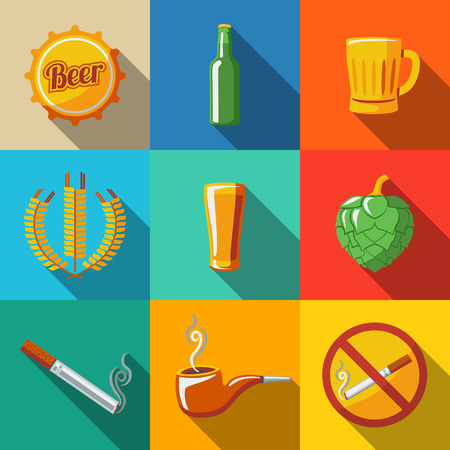 Pub, beer flat long shadow icons set with - Glass and mug, bottle, hop, wheat, tap, pipe, cigarette, no smoking sign. Vector illustration