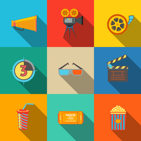 Flat modern cinema, movie icons set on color squares with - cinema projector, film strip, 3D glasses, clapboard, popcorn in a striped tub, cinema ticket, glass of drink.