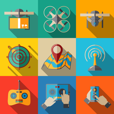 unmanned: Set of flat drone icons - drone with box, drone top view, surveillance drone, navigation, map, controllers, tablet and smartphone apps. Vector illustration Illustration