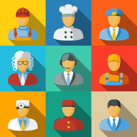 attorney: Set of flat icons with people faces of different professions - cook, worker, pilot, law man, call operator, delivery man, doctor, doorman, clerk. vector Illustration