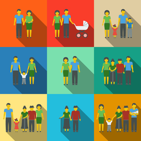 familia unida: Planas iconos sombra larga familia multigeneracional establecidos con todos los miembros edades familiares. Ilustraci�n vectorial