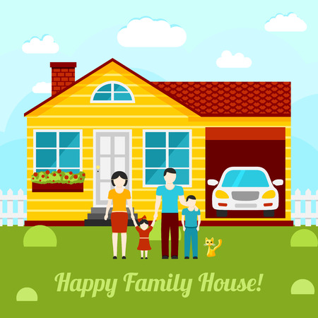 Happy family house concept illustration - couple with two kids, house, garage, car, cat. Vector illustration