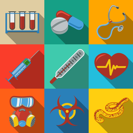 Medicine and health care colorful flat icons set with long shadows on bright plates - stethoscope, heart, thermometer, pills, bio hazard sign, syringe, test-tubes, gas mask, ebola virus. Vector illustration