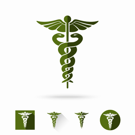 Caduceus - medical sign in different modern flat styles. Vector illustration Çizim