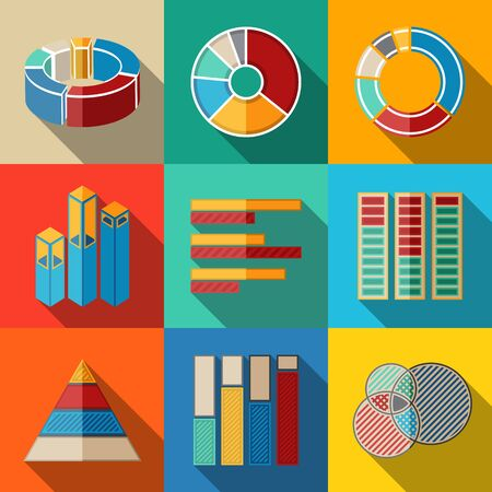 graphs and charts: Set of modern flat infographic elements - pie charts, graphics, rates, diagrams etc. Vector illustration Illustration