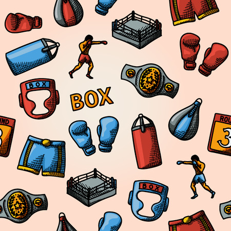 boxer shorts: Boxing hand drawn color pattern - gloves and shorts, helmet, round card, boxer, ring, belt, punch bags. Vector illustration