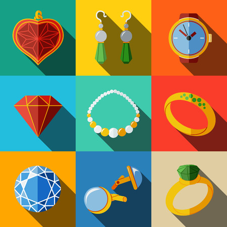 cuff link: Jewelry colorful flat icons set with long shadow - rings, diamonds, watch, earrings, pendant, cuff links, necklace. Vector illustration