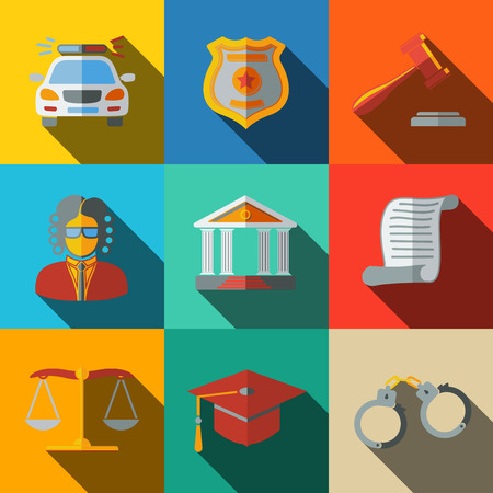 sentence: Law, justice flat icons set on square plates with long shadows, with - scales, hammer, court house, judge, police badge, handcuffs, lawyer cap, police car, sentence document. Illustration