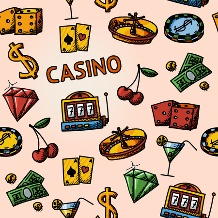 poker hand: Seamless casino handdrawn pattern with - dice and poker cards, chip, cherry, slot machine, roulette, martini drink, money, dollar sign. vector illustration