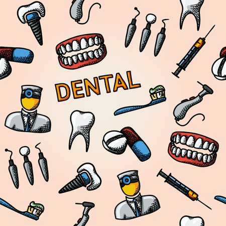drill: Dental handdrawn pattern with - tooth and jaw, toothbrush and dentist tools, doctor, prosthesis, drill, pills, syringe. vector illustration Illustration