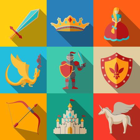 castillos de princesas: Iconos planos set - cuento de hadas, juego - espada y arco, el escudo y el caballero, el dragón y la princesa, corona, unicornio, castillo. Ilustración vectorial