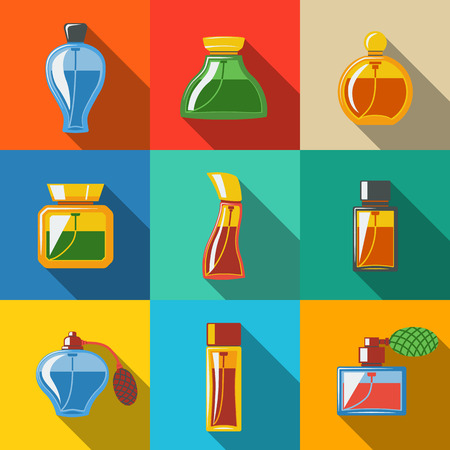 Perfume flat icons set, different shapes of bottles. vector illustration