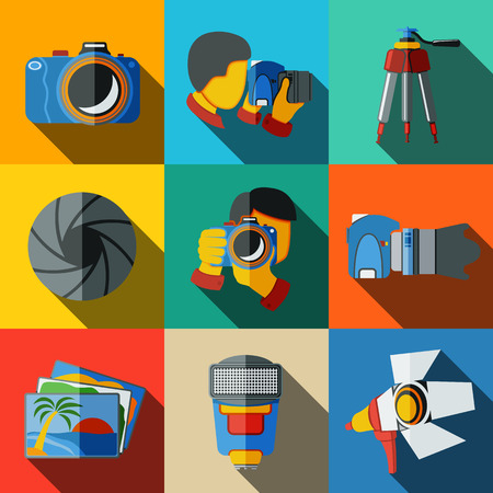 Photographer colorful flat icons set on bright squares, with - shutter, camera, photos, shooting photographers, flash, tripod, spotlight. Vector illustration