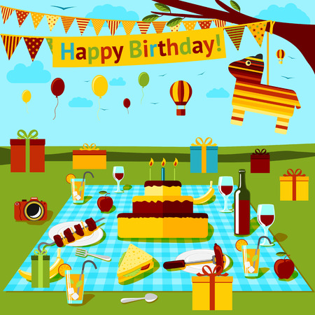 Happy birthday picnic poster with different food and drink on the cloth, presents, piniata and countryside view. Vector illustration
