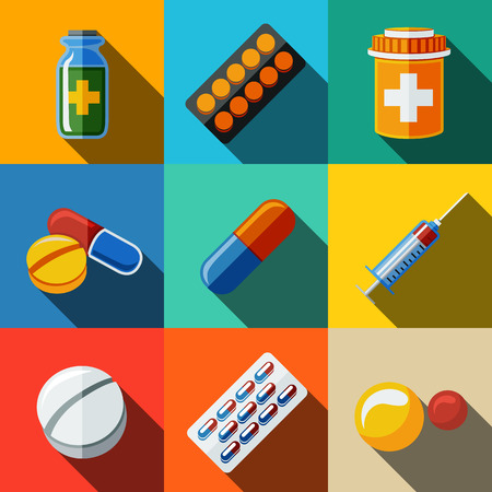 medicamento: Medicina, drogas iconos planos establecidos con la sombra larga - pillsbox y tabletas, pastillas, ampollas, vitaminas, jeringa, medicamento líquido.