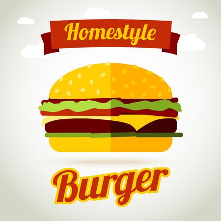 HAMBURGUESA: Casero hamburguesa concepto de ilustración de la bandera. Ilustración vectorial Vectores