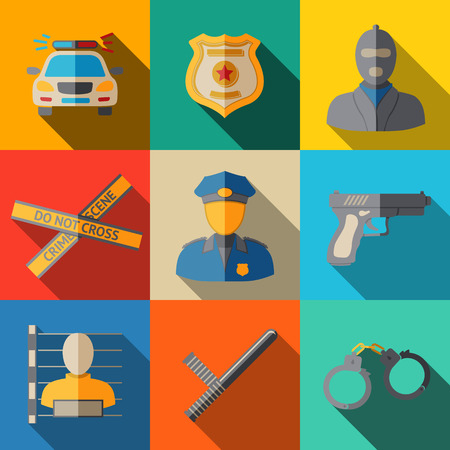 police icon: Set of flat police icons - gun, car, crime scene tape, badge, police men, thief, thief in jail, handcuffs, police club. Vector illustration Illustration