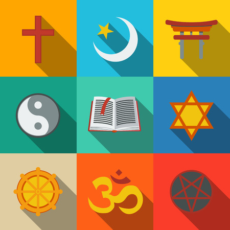 doctrine: World religion symbols flat set with - christian and Jewish, Islam, Buddhism, Hinduism, Taoism, Shinto, pentagram, and book as symbol of doctrine. Illustration