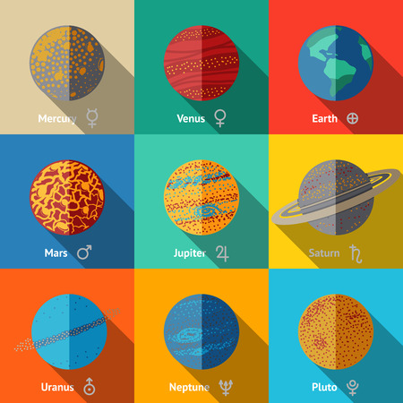 Flat icons set - planets with names and astronomical symbols - mercury and venus, earth, mars, jupiter, saturn, uranus, neptune, pluto. Vector illustration Vettoriali