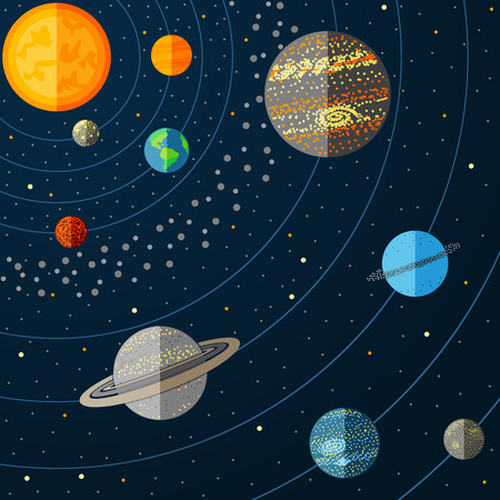 Illustration des Sonnensystems mit Planeten. Vektor-Illustration
