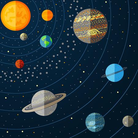 Illustration du système solaire avec les planètes. Vector illustration