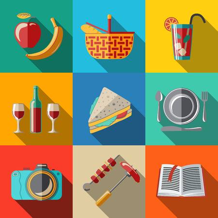 Flat icons set - picnic - basket, plate with spoon, sandwich, photo camera, wine, glass with cocktail, apple and banana, BBQ, book. Vector illustration Çizim