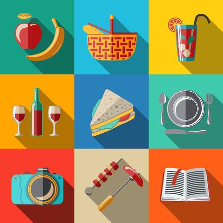 bread basket: Iconos planos conjunto - de picnic - cesta, plato con cuchara, bocadillo, c�mara de fotos, el vino, el vidrio con un c�ctel, manzana y pl�tano, barbacoa, libro. Ilustraci�n vectorial Vectores