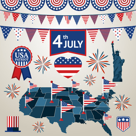 national freedom day: 4th of july card with different signs and symbols. Vector illustration