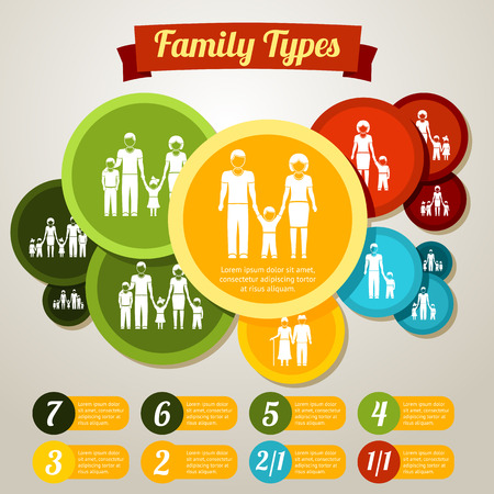 amount: Family types infographics concept - different family members amount. Vector illustration Illustration