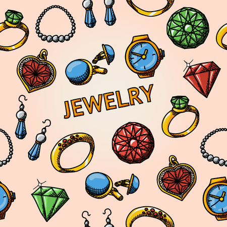 cuff: Seamless jewelry handdrawn pattern with- rings and diamonds, watch, earrings, pendant, cuff links, necklace. Vector illustration