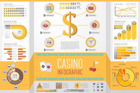 rates: Set of Casino, Gambling Infographic elements with icons, different charts, rates etc. Vector illustration Illustration