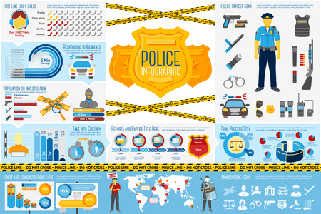 derecho penal: Conjunto de Polic�a funciona elementos de Infograf�a con diferentes iconos, gr�ficos, tasas, etc. Con lugares para el texto. Ilustraci�n vectorial Vectores