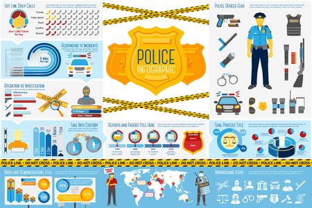 Set der Polizeiarbeit Infografik Elemente mit Symbolen, verschiedene Diagramme, Preise etc. Mit Plätze für Ihren Text. Vektor-Illustration Standard-Bild - 44104428