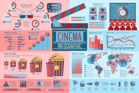 Satz Kino-Infographic-Elemente mit Ikonen, verschiedenen Diagrammen, Preisen usw. Vektorillustration Standard-Bild - 44104431