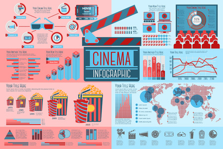 Set of Cinema Infographic elements with icons, different charts, rates etc. Vector illustration