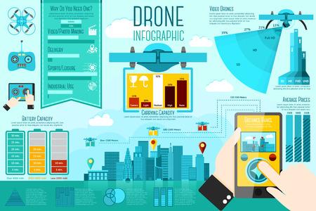 infografica: Set di moderni droni aerei elementi infographic con icone, grafici differenti, tassi ecc Con posti per il testo. Illustrazione vettoriale