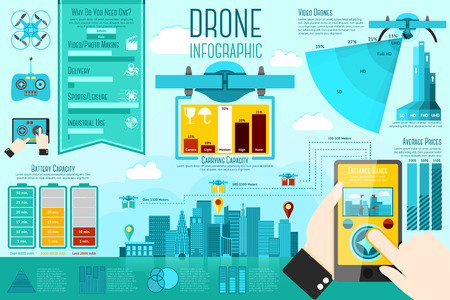 video surveillance: Set of modern air drones Infographic elements with icons, different charts, rates etc. With places for your text. Vector illustration