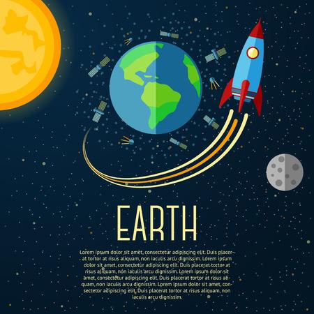 Bandera de la Tierra con el sol, la luna, las estrellas y los cohetes espaciales. Ilustración vectorial