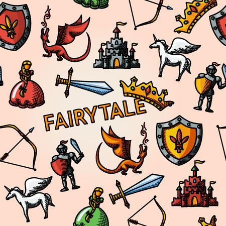 Schwert und Bogen, Schild und Ritter, Drachen, Prinzessin, Krone, Einhorn, Burg - Farbe Hand Märchen Muster mit gezeichnet. Vektor Standard-Bild - 44104438