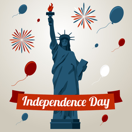 liberty statue: Independence day card concept with liberty statue. Vector illustration