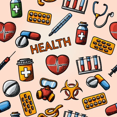 hand care: Seamless health handdrawn pattern with - stethoscope, heart, thermometer, pills, bio hazard sign, syringe, test-tubes, gas mask. Vector illustration Illustration
