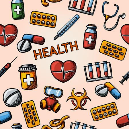 bio hazard: Seamless health handdrawn pattern with - stethoscope, heart, thermometer, pills, bio hazard sign, syringe, test-tubes, gas mask. Vector illustration Illustration