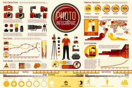 Set of Photographer work Infographic elements with icons, different charts, rates etc. With places for your text. Vector illustration Ilustração