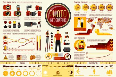 Set van fotograaf werken Infographic elementen met pictogrammen, verschillende grafieken, tarieven enz. Met plaatsen voor uw tekst. Vector illustratie