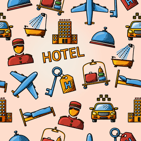 porter: Seamless hotel handdrawn pattern with- hotel building, service bell and bed, luggage, porter, room key, taxi cab, airplane, bathroom with shower.
