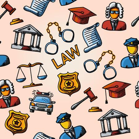 věta: Seamless zákon handdrawn vzor s- váhy a kladivo, soudní budovy, soudci, policie odznak, pouta, právník čepice, policejního auta, věta dokument.
