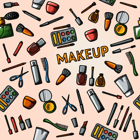 clipper: Color hand drawn makeup pattern - mascara and polish, powders, lipsticks, perfume, lotions, comb, nail clipper. Vector illustration